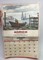 Vintage 1961 Agrico Fertilizer American Agricultural Chemical Co Wall Calendar $25.00