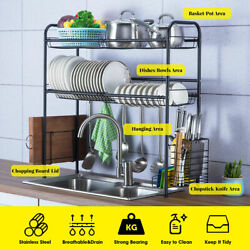 Over The Sink Dish Drying Rack Shelf Stainless Kitchen With Cutlery Holder Large $59.99