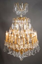 French Prisms Chandelier IN Louis Quinze Style With 18 Arms Brass