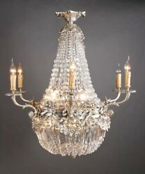 Classic Basket Chandeliers IN Style of The Biedermeier Bronze Silver Plated
