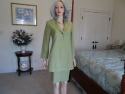 Lafayette 148 New York Chartreuse Skirt Long Jacket Suit Size 6 $39.99