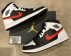 Nike Air Jordan 1 Retro Mid Chile Red White Black 2021 Basketball Mens Size $189.25