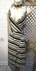 🌹ATELIER R🌹QUIRKY STRIPED ASYMMETRIC WRAP OVER  SUN DRESS 16 SUMMER REDOUTE  $33.74