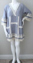 Velzera Plus Boho Cotton Crochet Lace Ruffle Patch Empire Tunic Dress 3XL NWT $39.95