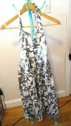 NWT Barneys New York Gray White Floral Halter Cotton Dress Sz 6 $21.99