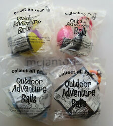 MIP SET 4 Arby#x27;s 2000 OUTDOOR ADVENTURE BALLS Keychain Clip On BALL Nature Toy $25.00