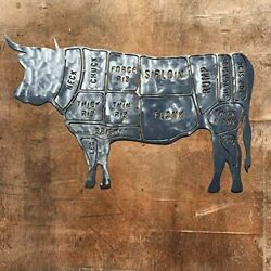 The Heritage Forge Rustic Home Steer Butcher Chart 30 x 19 Metal Words $59.99