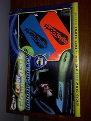 Oglo Sports indoor hockey glow in the dark sticks glow blue red puck glows green $7.00