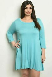 Love In Solid Blue Women#x27;s Tunic Top Dress Plus Wear w Leggings USA 1X 2X 3X $14.98