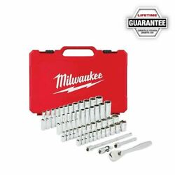 Milwaukee 48 22 9004 50pc 1 4quot; SAE Metric Ratchet and Socket Mechanics Tool Set $79.99