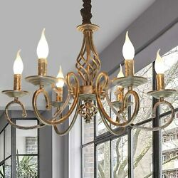 6 Light Chandeliers French Country Vintage Chandelier Antique Bronze Pendant New $116.95