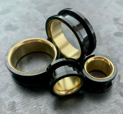 PAIR Black with Gold Interior Screw Fit Tunnels Ear Plugs Earlet Gauges $10.99