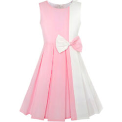 US STOCK Girls Dress Color Block Contrast Bow Tie Pink White Party Size 4 14 $18.95