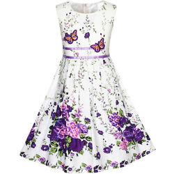 US STOCK! Girls Dress Purple Butterfly Flower Sundress Party Size 4-12 $15.95