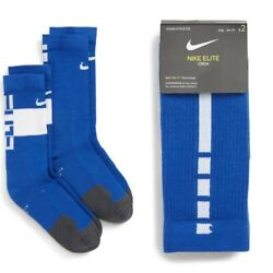 New Nike Youth Kids Boys 2PK Elite Crew Socks Blue White Sizes S M 3Y up to 7Y $12.99