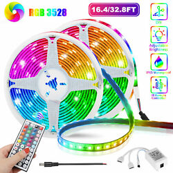 32FT Flexible Strip Light 3528 RGB LED SMD Remote Fairy Lights Room TV Party Bar $13.97