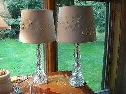 PAIR OF 1950#x27;S CRYSTAL TABLE OR NIGHTSTAND LAMPS WITH WHITE CUTWORK SHADES $100.00