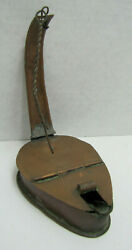 ANTIQUE COPPER BETTY LAMP LARD GREASE OIL WICK LIGHT LITE HINGED TOP LID AS IS $38.00