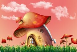 6x4Ft Red Mushroom House Children Photography Backgrounds Banner Vinyl Backdrops $11.35