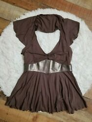 Arden B Top Size Small Brown Deep V Neck Open Back Sexy Shirt $16.00