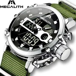 Megalith Mens Rugged LED Tactical Luminous Waterproof Military Watch Gift Idea $33.00