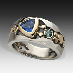 Elegant Two Tone 925 Silver Rings for Women Blue Sapphire Ring Size 6 10 $2.18