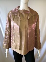 Chanel Silk Iridescent Blouse Size 42 And Jacket Size 36 Set