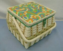 VINTAGE SEWING BASKET 10quot; X 10quot; w HANDLE with misc pins needles buttons $24.99