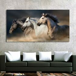Three Running Horses Canvas Art Animals Wall Art Poster Pictures For Living Room $18.68