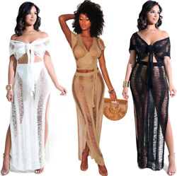 Womens Sexy Hot 2PC Summer Tie Up See Through Sheer Mesh Beach Cover Up Dress $21.99