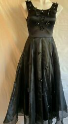 VINTAGE TROIKA LONG BLACK PROM FORMAL PARTY DRESS