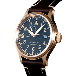 ✅ AQUATICO BRONZE BLUE ANGELS PILOT BLACK DIAL INTERNATIONAL SHIPPING 🇺🇸DEALER $299.00