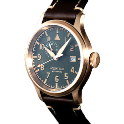 ✅ AQUATICO BRONZE BLUE ANGELS PILOT GREEN DIAL INTERNATIONAL SHIPPING 🇺🇸DEALER $299.00
