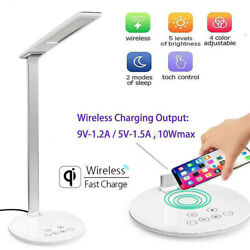 LED USB Charge Table Desk Lamp w QI Wireless Phone Charger Reading Home Light $26.99