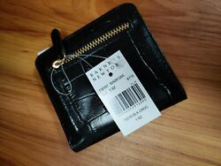 BARNEYS New York Glossy BLACK Crocodile Bifold Credit Card Wallet 4in x 4in $48.98