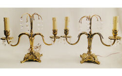 Antique french Louis XV style bronze amp; glass pair table lamps candelabra 1306 $195.00