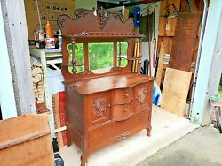 OAK SIDEBOARD antique for restoration worthy of the effort DELIVERY AVAILABLE $600.00