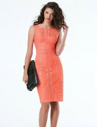New Bebe Paneled Lace Midi Pink Coral Size 8 classy cocktail pinup Dress $149 $30.00