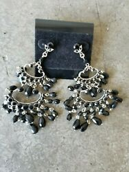 LARGE 3quot; CHANDELIER EARRINGS BLACK BEADS CARRIE BRADSHAW SEX AND THE CITY $25.00