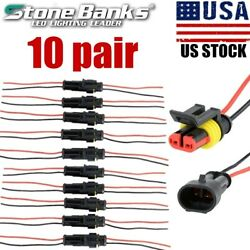 10 Pairs 2-Pin Car Waterproof Male Female Two Way Electrical Connector Plug Wire $7.99