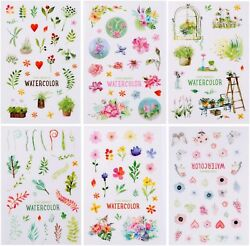 6 Sheets Watercolor Flowers Stickers Papercraft Planner Supply Plant Journal $3.99