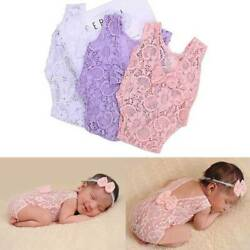 Kids Outfits Newborn Infant Baby Girl Boy Solid Lace Bow Romper Bodysuit Clothes $3.25