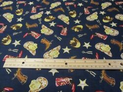 Navy Blue Cowboy Boots Hats Star Cotton Fabric BTY $12.50
