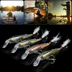 3D Simulation Sound Blood Groove Hook Artificial Minnow Fishing Lure Bait $8.51