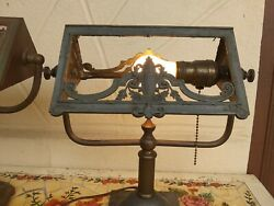 Antique Slag Glass Desk Table Piano Lamp Light no glass $500.00