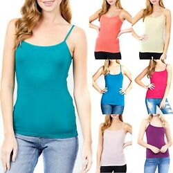 Womens Spaghetti Strap Tank Top Cropped Cotton Short Camisole Basic Layering $6.95