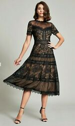 NWT Tadashi Shoji Camilla Tea Length Dress  midi in black lace size 6 medium