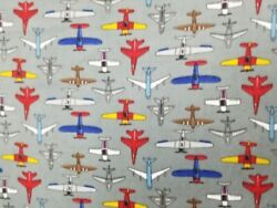 Sky Flying Airplanes Fleece Fabric 60quot; Wide Style# PT1017 Free Shipping $13.95