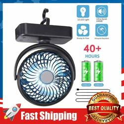 4400mAh Camping Fan with LED Lights Rechargeable Battery Operated Desk Fan $30.99