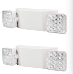2 Pack LED Emergency Exit Light Adjustable 2 Head With Battery Back up UL 924 $35.99